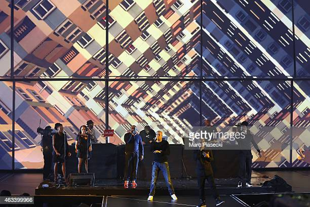 Akhenaton Shurik'n Kheops Imhotep Kephren from IAM perform during the 30th 'Victoires de la Musique' French Music Awards Ceremony at le Zenith on...