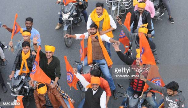 Akhil Bharatiya Chatra Maha Yuba protest march demanded a ban on Sanjay Leela Bhansali's film Padmavati on November 30 2017 in Lucknow India Various...