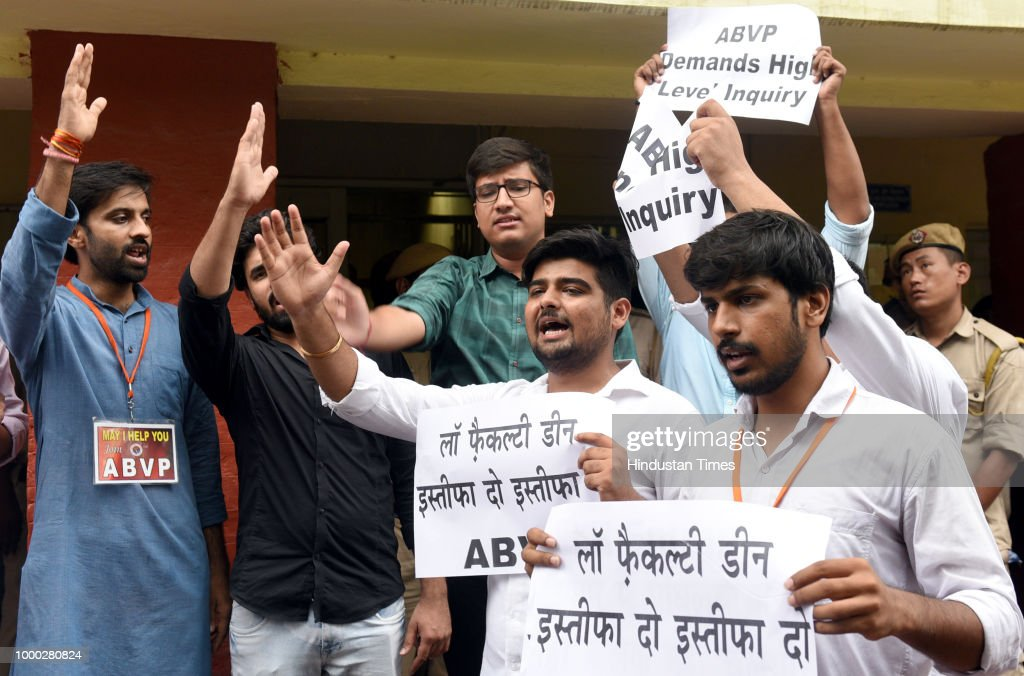 ABVP Protest Against LLM Paper Leak At Faculty Of Law