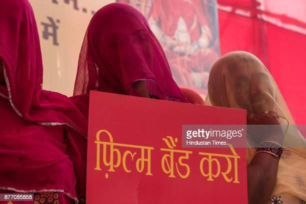 Akhil Bhartiya Maratha Mahasangha and Akhil Bhartiya Shatriyasangh protest against Padmavati movie at Azad Maidan on November 20 2017 in Mumbai India...