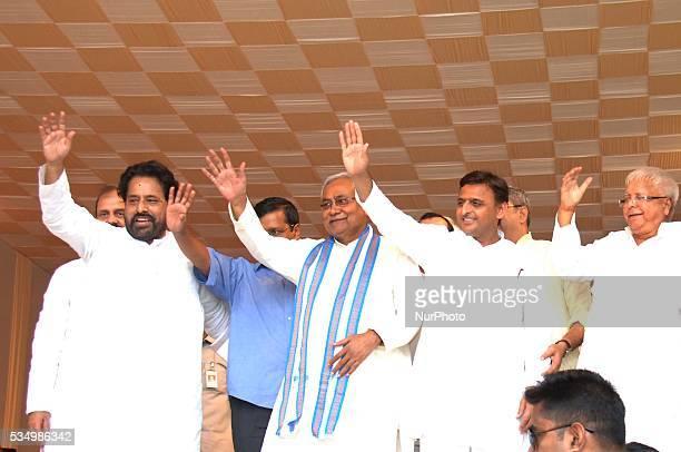 Akhilesh Kumar along Bihar CM Nitish KumarDelhi CM Arvind KejriwalTMC MPs Sudip Banerjee and RJD Chief Lalu Prasad during swearingin ceremony as...