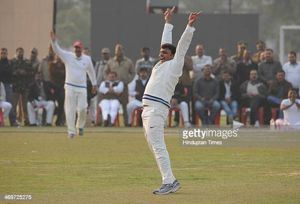 Akhilesh Yadav Cheif Minister of Uttar Pradesh appealing against batsman during a cricket match beetween CM XI and IAS Xi at Lamarts ground on...