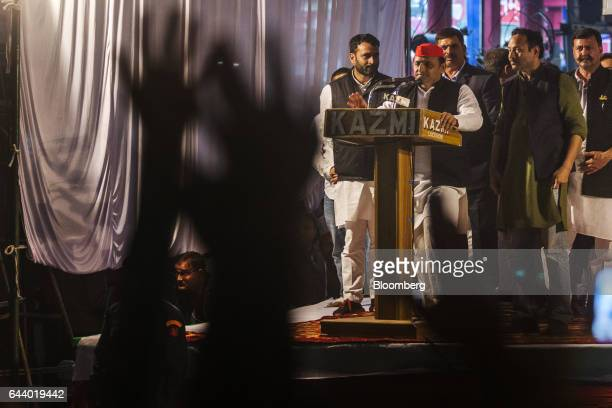 Akhilesh Yadav chief minister of the state of Uttar Pradesh and president of the Samajwadi Party center speaks from a podium during a state election...