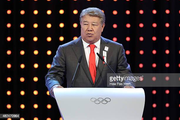 Akhmetzhan Yessimov Mayor of Almaty Kazakhstan speaks at the presentation during the 128th IOC Session on July 31 2015 in Kuala Lumpur Malaysia