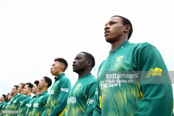 Akhona Mnyaka of South Africa sings the national anthem during the ICC U19 Cricket World Cup match between the West Indies and South Africa at Bay...