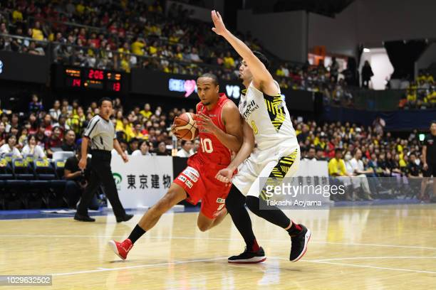 Aki Chambers of the Chiba Jets drives to the basket during the B.League Early Cup Kanto 3rd Place Game between Chiba Jets and Sun Rockers Shibuya at...