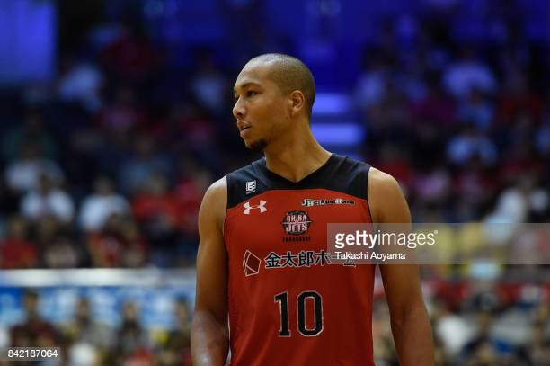 Aki Chambers of the Chiba Jets looks on during the BLeague Kanto Early Cup final between Alvark Tokyo and Chiba Jets at Funabashi Arena on September...