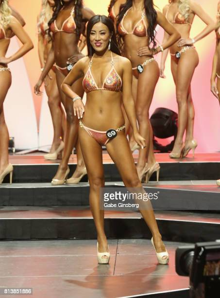 Aki Li of Shanghai China competes during the 21st annual Hooters International Swimsuit Pageant at The Pearl concert theater at Palms Casino Resort...