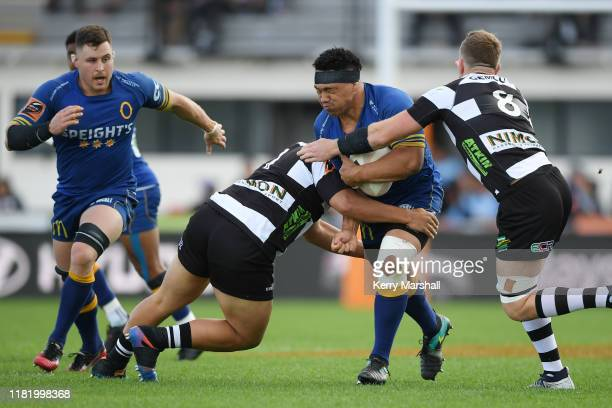 Aki Seiuli of Otago in action during the Mitre 10 Cup Championship Semi Finals match between Hawkes Bay and Otago at McLean Park on October 19 2019...
