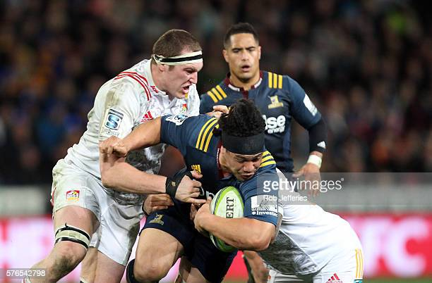 Aki Seiuli of the Highlanders on the charge during the round 17 Super Rugby match between the Highlanders and the Chiefs at Forsyth Barr Stadium on...