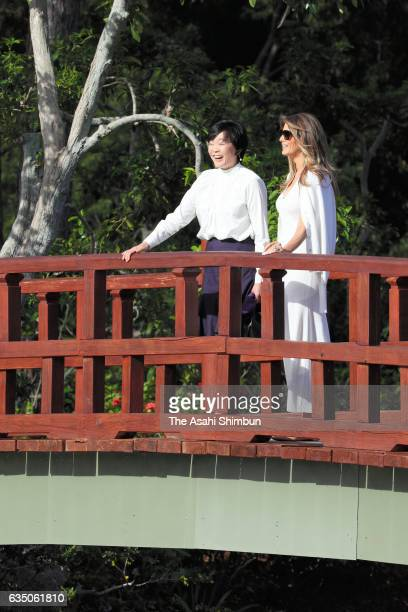 Akie Abe and Melania Trump visit the Morikami Museum and Japanese Gardens on February 11 2017 in Delray Beach Florida Japanese Prime Minister Shinzo...