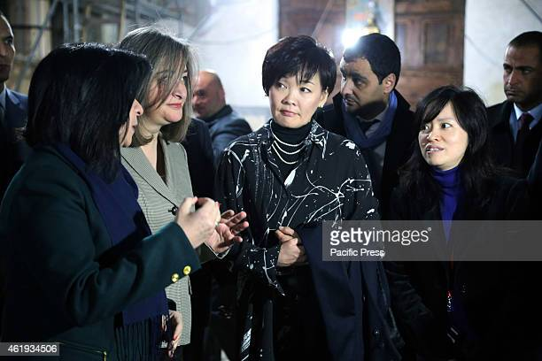 Akie Abe the wife of Japan's Prime Minister Shinzo Abe during her visit to the Nativity Church in the West Bank city of Bethlehem