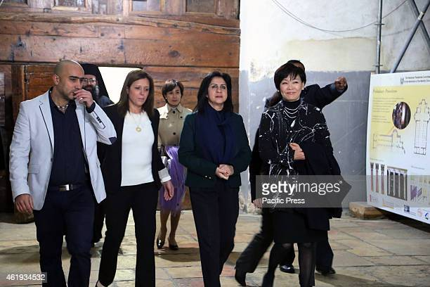 Akie Abe the wife of Japan's Prime Minister Shinzo Abe during her arrival to the Nativity Church in the West Bank city of Bethlehem