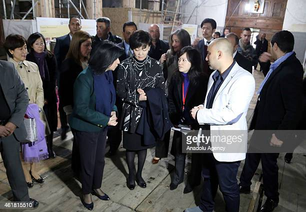 Akie Abe the wife of Japan's Prime Minister Shinzo Abe visits AlMahd church in Bethlehem West Bank during an official visit to West Bank on January...