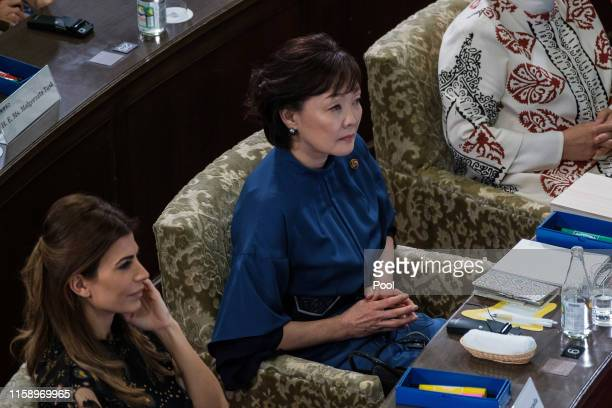 "Akie Abe, the wife of the Japanese Prime Minister attends with partners of the G20 leaders a symposium ""Ocean a precious resource for our lives"" at..."