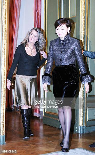 Akie Abe wife of Japanese Prime Minister Shinzo Abe and Dominique Verkinderen wife of Belgium Prime Minister Guy Verhofstadt are seen during their...