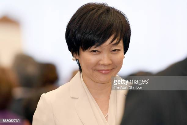 Akie Abe wife of Japanese Prime Minister Shinzo Abe attends the centenary reception of the foundation of the AmericaJapan Society at the Imperial...