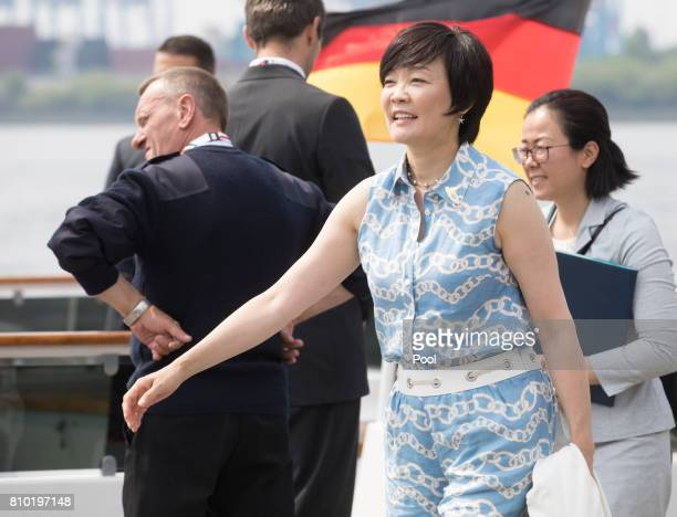 Akie Abe wife of Shinzo Abe Prime Minister of Japan leaves the boat 'Diplomat' on the river Elbe as she takes part in the G20 Summit Spouse Programme...