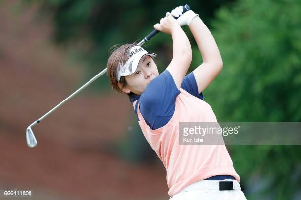 Akie Anno plays her tee shot on the second hole during the final round of the Hanasaka Ladies Yanmar Golf Tournament at the Biwako Country Club on...
