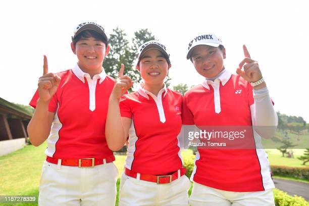 Akie Iwai, Miyuu Yamashita and Tsubasa Kajitani of Japan celebrate winning the Girls Team after the final round of the Toyota Junior Golf World Cup...