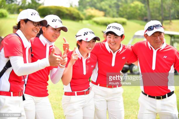 Akie Iwai, Tsubasa Kajitani and Miyuu Yamashita of Japan celebrate winning the Girls Team after the final round of the Toyota Junior Golf World Cup...