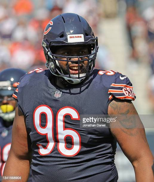Akiem Hicks of the Chicago Bears awaits the start of play against the Cincinnati Bengals at Soldier Field on September 19, 2021 in Chicago, Illinois....