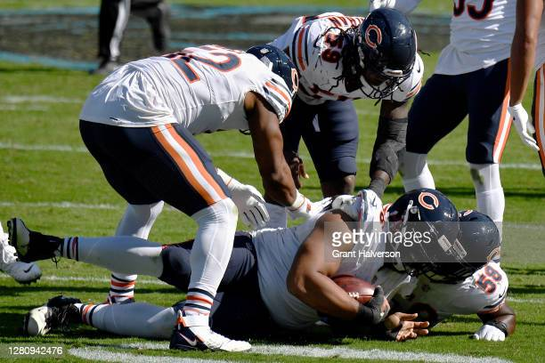 Akiem Hicks of the Chicago Bears celebrates after recovering a fumble in the third quarter against the Carolina Panthers at Bank of America Stadium...