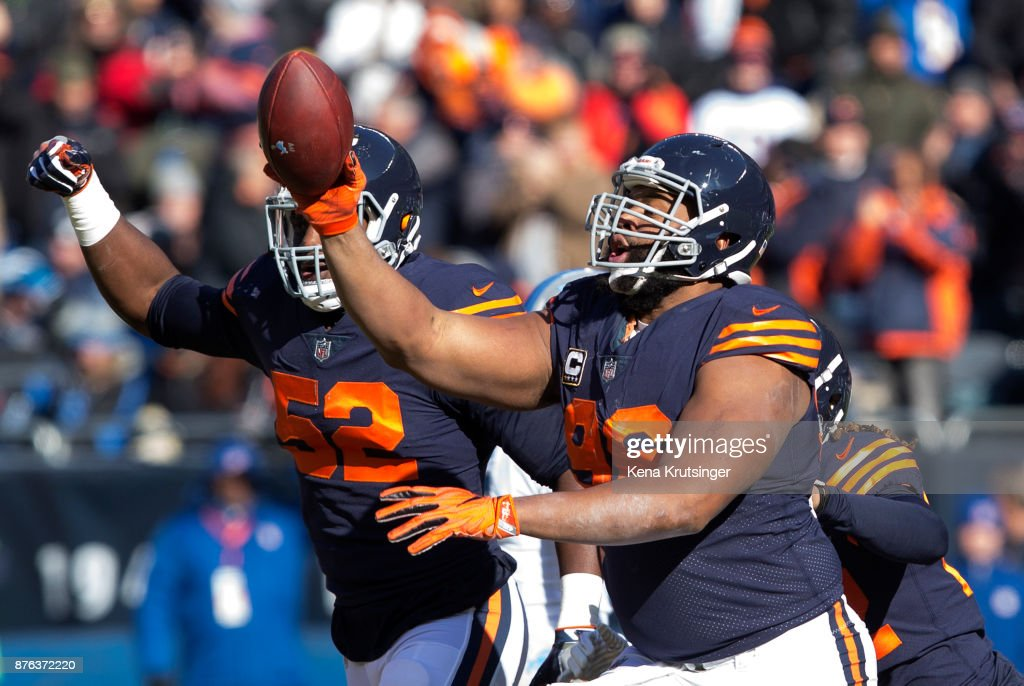 Akiem Hicks #96 of the Chicago Bears celebrates after the Bears recovered a fumble in the first quarter against the Detroit Lions at Soldier Field on November 19, 2017 in Chicago, Illinois. The Detroit Lions defeated the Chicago Bears 27-24.