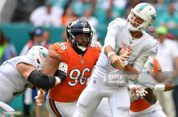 Akiem Hicks of the Chicago Bears in action against the Miami Dolphins at Hard Rock Stadium on October 14 2018 in Miami Florida