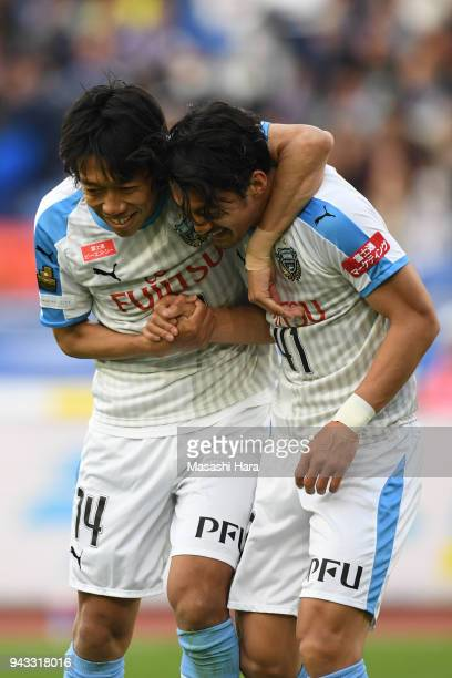 Akihiro Ienaga and Kengo Nakamura of Kawasaki Frontale celebrate the first goal during the JLeague J1 match between Yokohama FMarinos and Kawasaki...