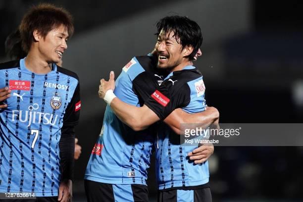 Akihiro Ienaga of Kawasaki Fronale celebrates scoring his side's second goal during the J.League Meiji Yasuda J1 match between Kawasaki Frontale and...