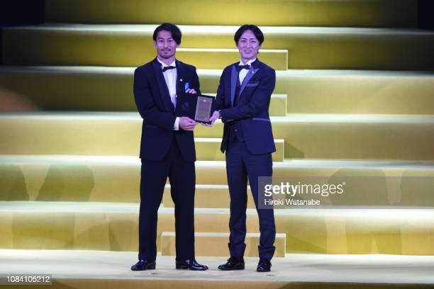 Akihiro Ienaga of Kawasaki Frontale and Hiroyuki Yabe looks on during the JLeague Awards at Yokohama Arena on December 18 2018 in Yokohama Kanagawa...
