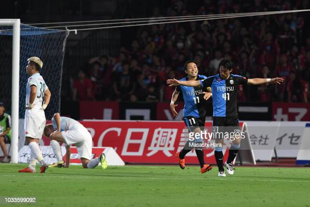 Akihiro Ienaga of Kawasaki Frontale and Yu Kobayashi celebrate the first goal during the JLeague J1 match between Kawasaki Frontale and Consadole...