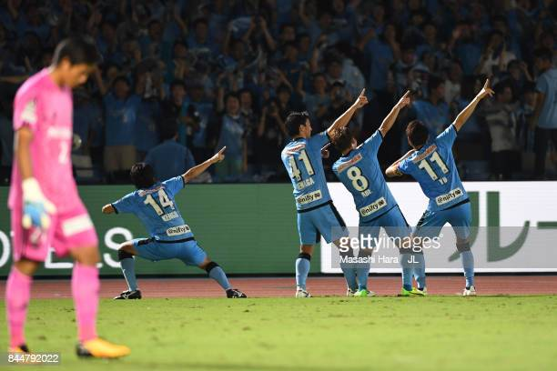 Akihiro Ienaga of Kawasaki Frontale celebrates scoring his side's third goal with his team mate during the JLeague J1 match between Kawasaki Frontale...