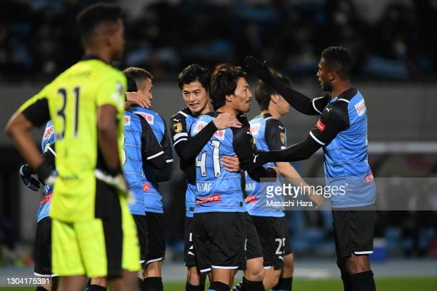 Akihiro Ienaga of Kawasaki Frontale celebrates the first goal during the J.League Meiji Yasuda J1 match between Kawasaki Frontale and Yokohama...