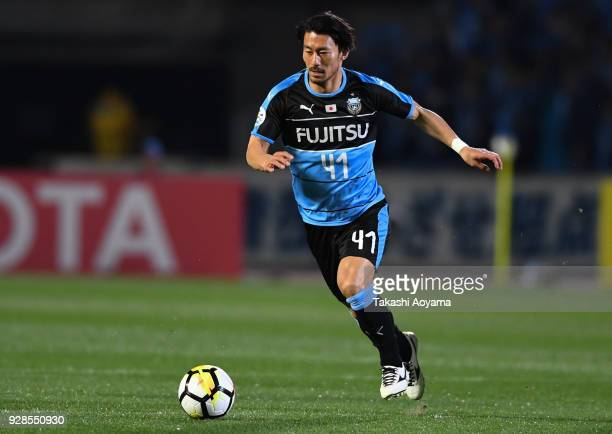 Akihiro Ienaga of Kawasaki Frontale controls the ball during the AFC Champions League Group F match between Kawasaki Frontale and Melbourne Victory...