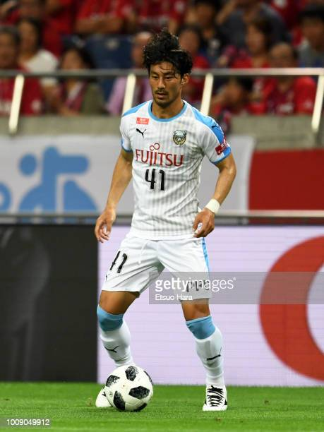 Akihiro Ienaga of Kawasaki Frontale in action during the JLeague J1 match between Urawa Red Diamonds and Kawasaki Frontale at Saitama Stadium on...