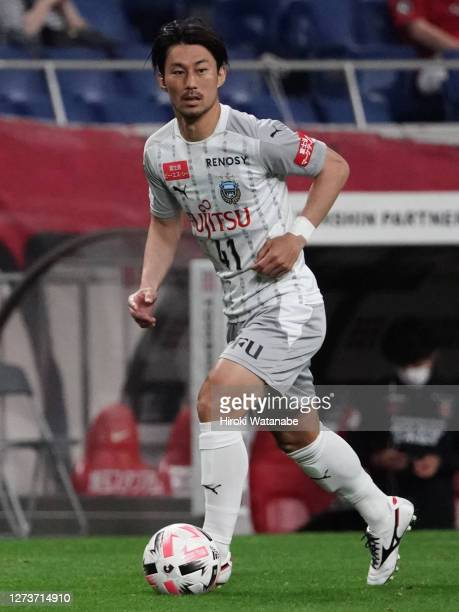 Akihiro Ienaga of Kawasaki Frontale in action during the J.League Meiji Yasuda J1 match between Urawa Red Diamonds and Kawasaki Frontale at the...