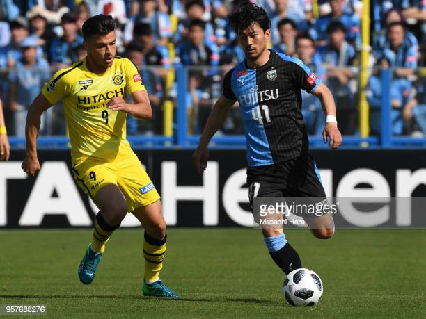 Akihiro Ienaga of Kawasaki Frontale in action during the JLeague J1 match between Kashiwa Reysol and Kawasaki Frontale at Sankyo Frontier Kashiwa...