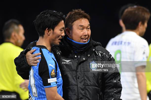 Akihiro Ienaga of Kawasaki Frontale looks on during the JLeague J1 match between Kawasaki Frontale and Shonan Bellmare at Todoroki Stadium on March 2...
