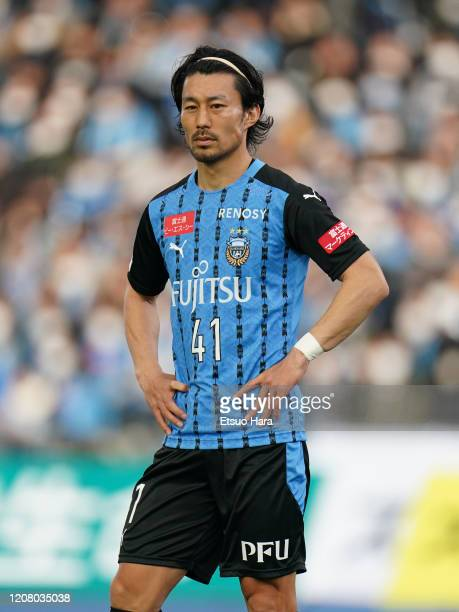 Akihiro Ienaga of Kawasaki Frontale looks on during the JLeague MEIJI YASUDA J1 match between Kawasaki Frontale and Sagan Tosu at Todoroki Stadium on...