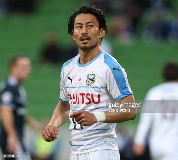 Akihiro Ienaga of Kawasaki Frontale reacts to a missed goal during the AFC Champions League Group F between Melbourne Victory against Kawasaki...