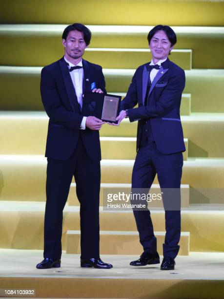 Akihiro Ienaga of Kawasaki Frontale receives the JLeague Player of the year Awards during the 2018 JLeague Awards at Yokohama Arena on December 18...