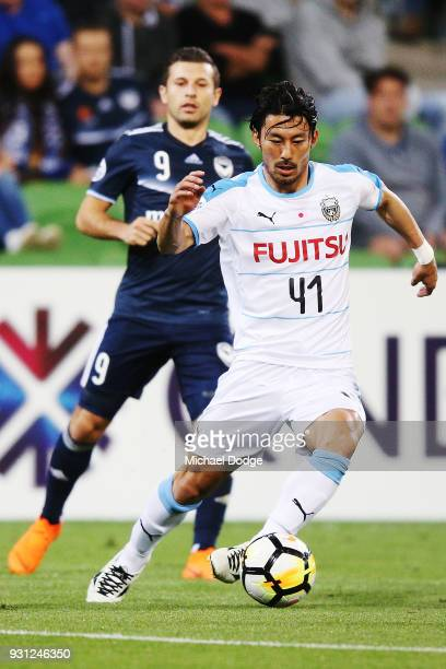 Akihiro Ienaga of Kawasaki Frontale runs with the ball during the AFC Asian Champions League match between the Melbourne Victory and Kawasaki...