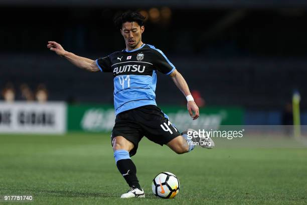 Akihiro Ienaga of Kawasaki Frontale takes a shot during the AFC Champions League Group F match between Kawasaki Frontale and Shanghai SIPG at...