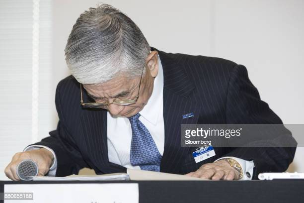 Akihiro Nikkaku president of Toray Industries Inc bows during a news conference in Tokyo Japan on Tuesday Nov 28 2017 The falling reputation of...