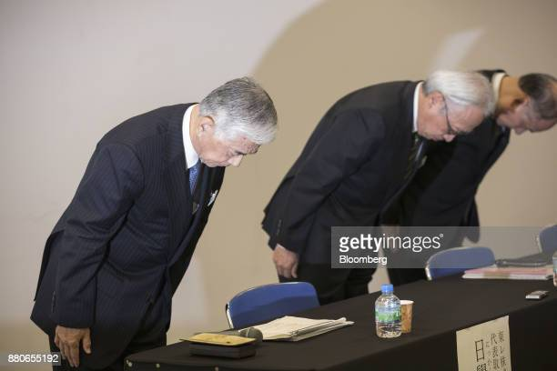 Akihiro Nikkaku president of Toray Industries Inc left Akira Umeda executive vice president at Toray Industries Inc center and Nobuhiro Suzuki...