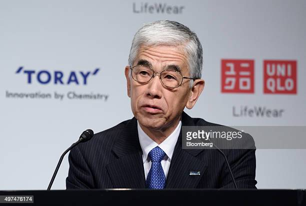 Akihiro Nikkaku president of Toray Industries Inc speaks during a news conference in Tokyo Japan on Tuesday Nov 17 2015 Fast Retailing Co's Uniqlo is...