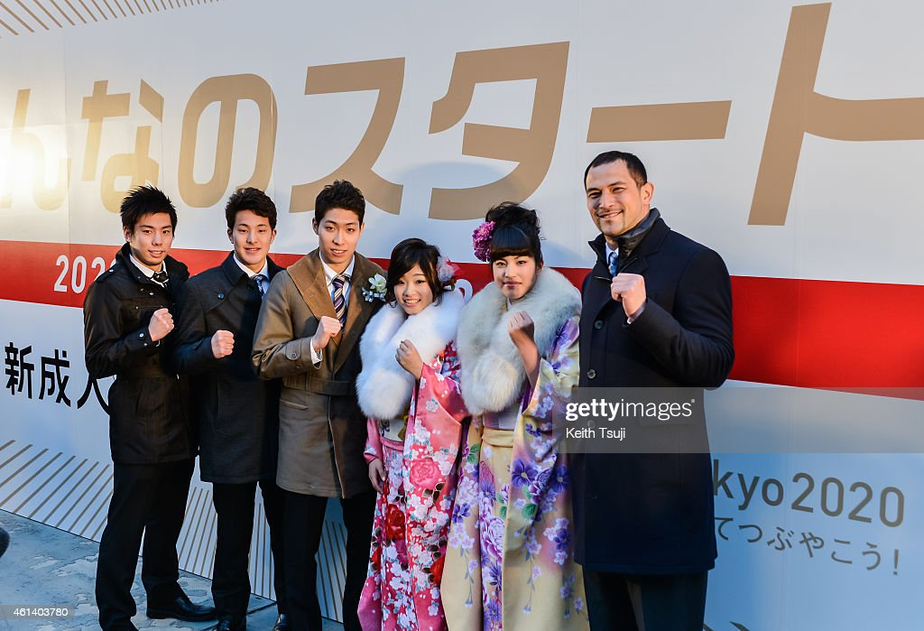 Akihiro Yamaguchi, Daiya Seto, Kosuke Hagino, Akiho Sato, Miho Fujii and Koji Murofushi attend The '2020 Days to Tokyo 2020' Event on January 12, 2015 in Tokyo, Japan. The Tokyo 2020 Organizing Committee and the Tokyo Metropolitan Government celebrate to mark the '2020 Days to Tokyo 2020,' with 20 year-old Tokyoites, which coincides with Coming of Age Day in Japan when those who have turned 20 years old in the past year gather to mark reaching the age of majority.
