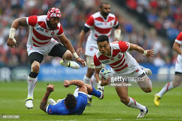 Akihito Yamada of Japan breaks through during the 2015 Rugby World Cup Pool B match between Samoa and Japan at Stadium mk on October 3 2015 in Milton...